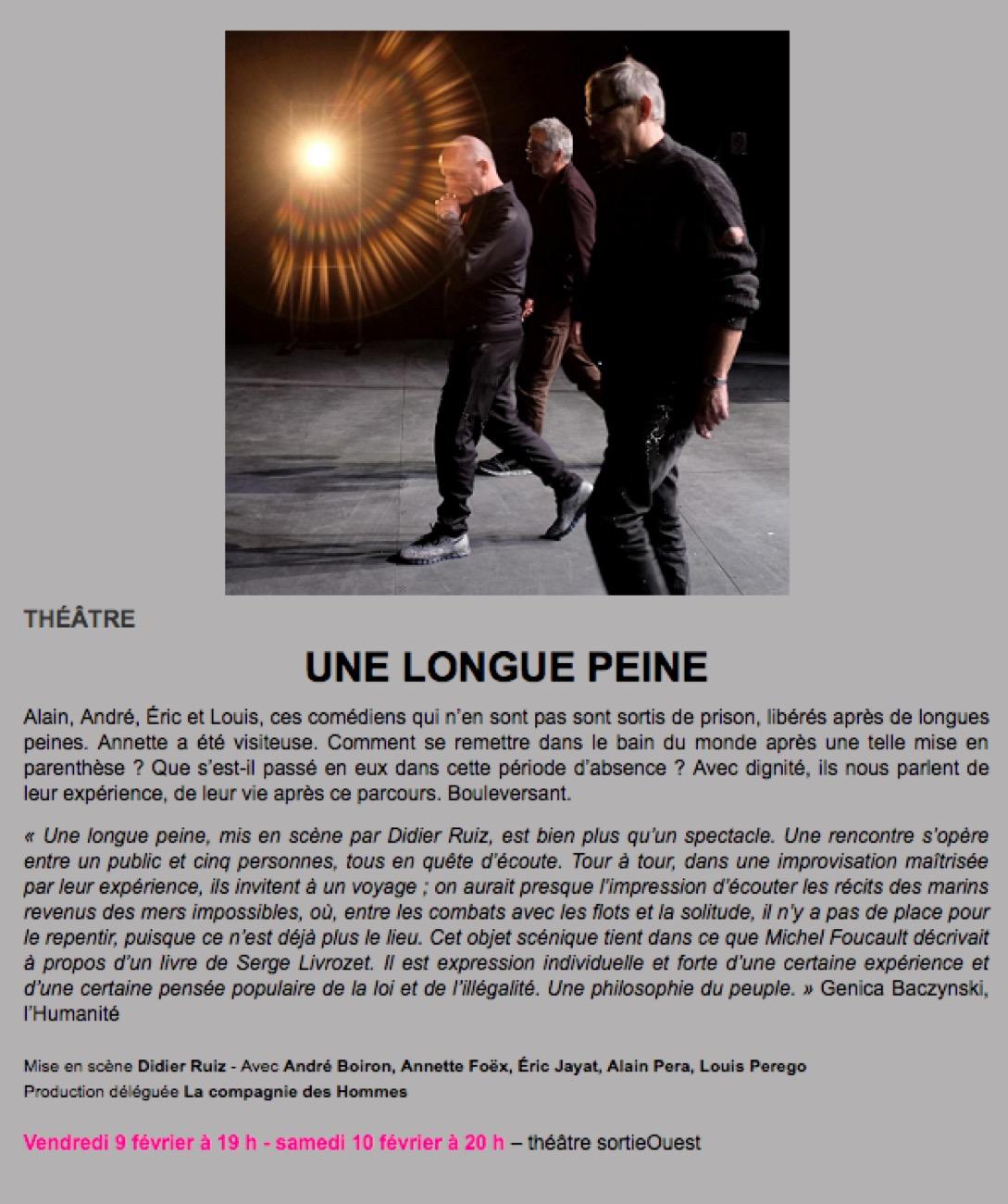 Read more about the article 9 Février 2018 : les Term à Sortie Ouest pour «Une longue peine»