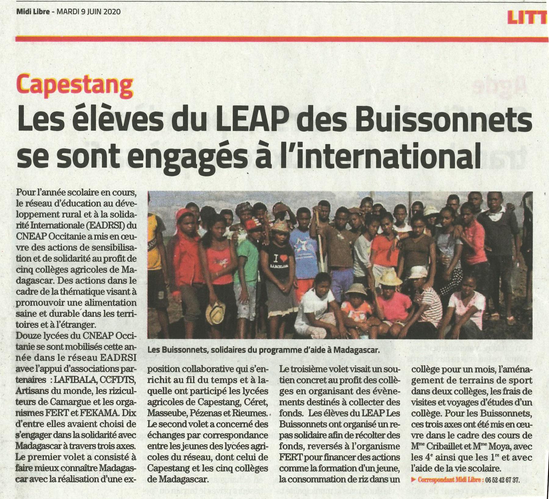 Midi Libre parle des Buissonnets