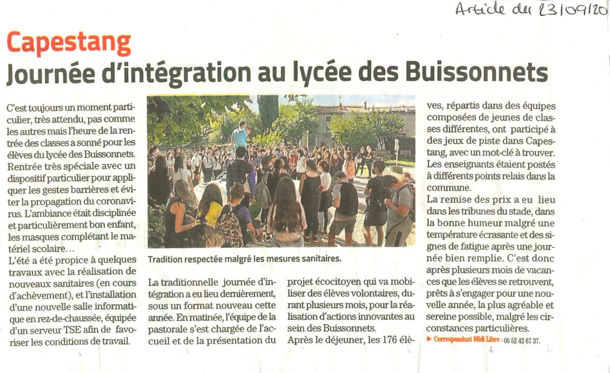 Journée d'intégration respectée malgré les mesures sanitaires !