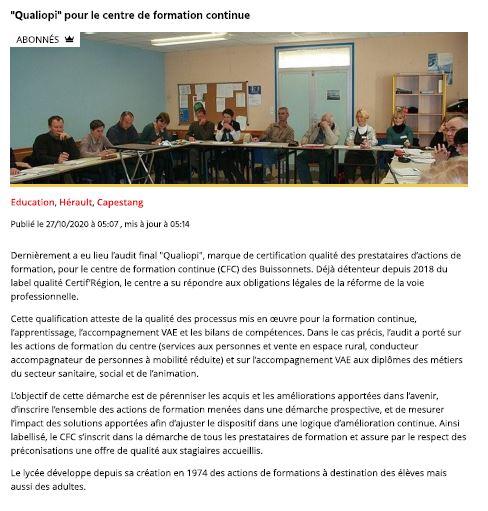 Le Centre de Formation Continue du lycée les Buissonnets obtient le sésame « QUALIOPI » – Midi Libre 27.10.20